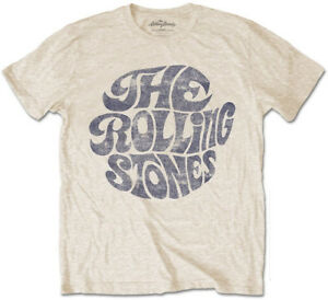 The Rolling Stones 'Vintage 70s Logo' (Sand) T-Shirt - NEW & OFFICIAL!