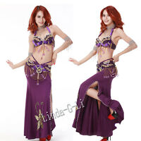 2 Pics New Belly Dance Costume Set  Bra & Belt  US34B 36B 38B US40D 12/2 3
