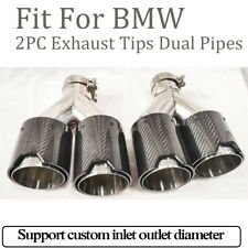 Carbon Fiber Exhaust Tips Dual Pipes M End 2Pcs For BMW In63mm Outlet 93mm Black