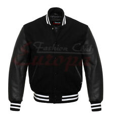 Varsity Black Letterman Wool Jacket with Black Real Leather Sleeves XS-4XL
