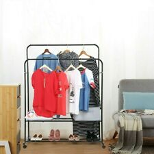 Portable Double Bar Heavy Duty Clothe Hanger Rolling Rail Garment Rack Storage