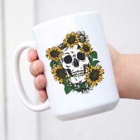 Coffee Mug Sunflowers Skull Funny Coffee Mug Tea Cup Decorative Gifts for Family