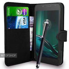 Funda tipo billetera de cuero PU Negro Funda Libro Para Teléfono Celular Motorola Moto G4 Play