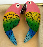 VINTAGE TROPICAL BIRD EARRINGS PARROT PIERCED EARS HAND PAINTED FIGURAL JEWELRY