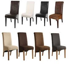 SixBros. Chaise en bois de hêtre massif en cuir synthétique différentes couleurs