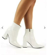 Public Desire Hollie Pointed ToeAnkle Boots Patent White Croc NEW 10 NYE Bootie