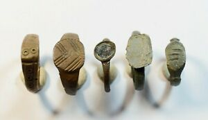 RARE LOT OF 5 ANCIENT ROMAN TO MEDIEVAL BRONZE RINGS - WEARABLE ARTIFACTS