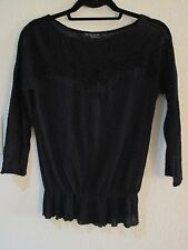 ZARA W&B COLLECTION Black 3/4 Sleeve Sheer & Embroidered Sweater SZ M NWOT