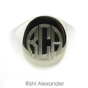 925 Sterling Silver Mens Signet Monogram Ring