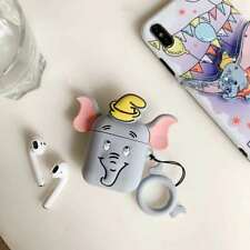 2019 3D Gray Dumbo Elephant Headset Airpods Charge Case Cover For Airpod + Ring
