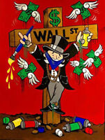 "Alec monopoly,Handcraft Oil Painting on Canvas ,24x32inch""WALL ST"" no frame"