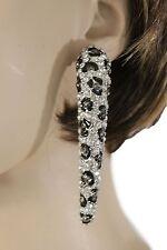 Women Earrings Set Silver Metal Hook Long Leopard Nail Brown Black Rhinestones