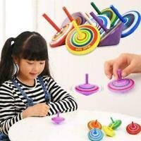 6pcs Holz Kreisel Peg-Top Cartoon Multicolor Kinder pädagogisches Spielzeug C5J5