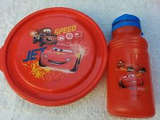 Disney Cars Kids Boys 3 pc Sports Bottle & 3 Sided Bowl w/Lid Red Meal Set NEW