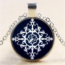 Nightmare Before Christmas Cabochon Glass Tibet Silver Pendant Necklace#CH33