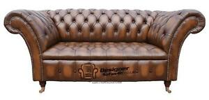 Chesterfield Balmoral 2 Seater Buttoned Seat Antique Tan Sofa Settee