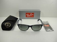 RAY-BAN NEW WAYFARER SUNGLASSES RB2132 605371 BLUE CLEAR/GREY GRADIENT LENS 55MM