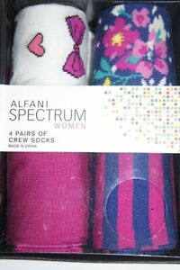 Alfani Spectrum Women Socks Sz 9 - 11 BOLD BERRY Pink Multi 4 Pairs Crew Sock