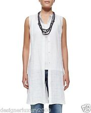NEW EILEEN FISHER HANDKERCHIEF LINEN OPEN WEAVE MANDARIN CLR K/L DRESS  L $238