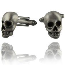 Mens Pirate Skull Cufflinks - Matte Antique Silver - Suit Accessory Gift Present