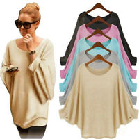 Women Girl Casual Long Sleeve Knitted Pullover Loose Sweater Jumper Tops Knitwea