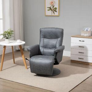 HOMCOM Swivel Recliner Chair Armchair Sofa w/ Footrest Padded Armrest Microfiber