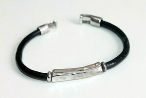 Uno de 50 Bracelet Silver plated ID hammered bar & leather Unisex  070121