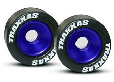 Traxxas Blue Aluminum Wheelie Bar Wheels with Rubber Tires Bandit