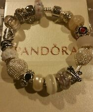 AUTHENTIC PANDORA LOBSTER BRACELET EURO CHARMS + JARED CASE ~~BARREL CLASP EXTRA