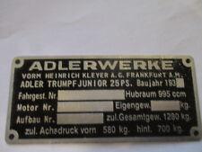 Typenschild Adler Kleyer Adlerwerke Schild Trumph junior 25 PS s26