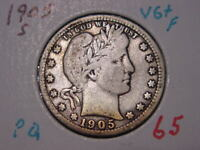 1905-S BARBER QUARTER VG + FINE NICE BETTER DATE COMBINED SHIPPING