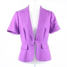 Purple textured 100% cotton TRINA TURK short sleeve single clip blazer jacket 10