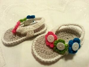 * Sandals - Crocheted * Baby Girls * Grey & White with Multicoloured Flowers *