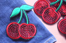 1 Cherry Embroidered Sequins Clothing Iron-On Patch Applique, Large