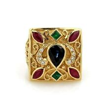 Emerald Sapphire Ruby & Diamond 18k Yellow Gold Fancy Square Ring SZ 9