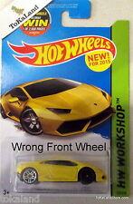 ToKaLand Hot Wheels 2015 222/250 Yellow Lamborghini LP 610-4 Wheel ERROR