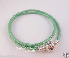"NEW Genuine PANDORA Mint~Sea GREEN Leather/Silver DOUBLE BRACELET 13.8""/35 Small"
