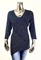CHICO'S *NWT SIZE 1. (M) BLACK-WHITE CROSS-STRIPE  3/4-SLV TUNIC $85