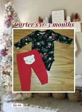 0-3 Month Carter's Black & Red Floral top & bear butt pants Set