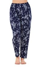 Ladies Floral Printtrousers Stretched Elasticated Summernarrow Leg HAREM Tapered Style 6 Navy M/l