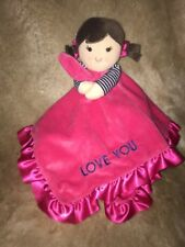 Carters Hot Pink Brunette Girl Doll Rattle Satin  Love You Lovey