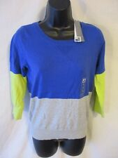 J.C.Penney Cotton Blend Size S  Blue Blocked Casual Long SLeeve Knit Top NEW