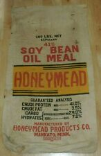 VINTAGE HONEYMEAD SOY BEAN OIL MEAL BAG SACK HONEYMEAD PRODUCTS MANKATO MN