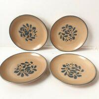 """Set of 4 Pfaltzgraff Folk Art Pattern Salad plates - 7 1/8"""" - USA Tan Brown"""