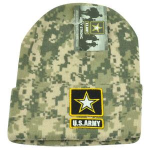 United States Army Strong Star Logo Cuffed Digital Camo Military Knit Beanie Hat