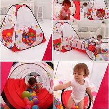 Pool Tube Teepee 3pc Pop-up Play Tent Children Tunnel Kids Play House Castle