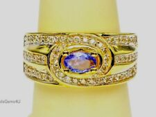 Oval Tanzanite Diamond 14K Yellow Gold Wide Band Ring