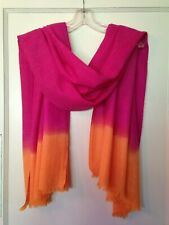 Cashmere wool silk pashmina scarf shawl magenta fuchsia pink orange ombre 72x28