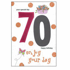 Age Birthday Card with Envelope Shiny Number Design - Pink 70th