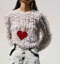 GIAMBATTISTA VALLI x H&M HM Airy flounced pink blouse patterned chiffon size 8